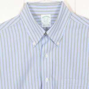 BrooksBros 15.5-33 Blue Green Stripe Button Down